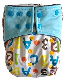 Chuddybuddy Alphabet Print Cloth Diaper With Insert Stitched Inside - Multicolor