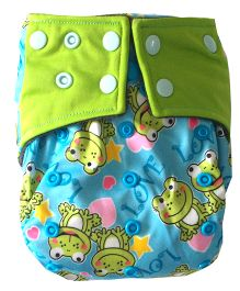 Chuddybuddy Frogs Print Cloth Diaper With Insert Stitched Inside - Blue
