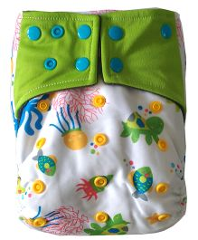 Chuddybuddy Sealife Print Cloth Diaper With Insert Stitched Inside - White