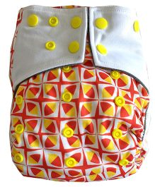 Chuddybuddy Spindles Print Cloth Diaper With Insert Stitched Inside - Red