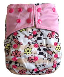 Chuddybuddy Cows Print Cloth Diaper With Insert Stitched Inside Happy - Pink