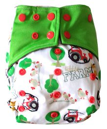 Chuddybuddy Farm Print Cloth Diaper With Insert Stitched Inside - Green