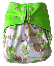 Chuddybuddy Wandering Animals Cloth Diaper With Insert Stitched Inside - White & Green