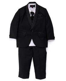 Robo Fry Party Full Sleeves Partywear Suit With Tie - Black