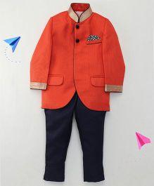 Robo Fry Full Sleeves Indo Western Sherwani Suit - Rust Orange Navy
