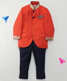 Robo Fry Partywear Mandarin Collar Coat And Pant Suit - Rust Orange