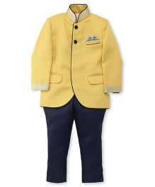 Robo Fry Partywear Mandarin Collar Coat And Pant Suit - Lemon Yellow