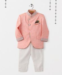Robo Fry Full Sleeves Sherwani & Pajama Set - Peach White