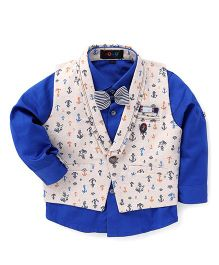 Robo Fry Full Sleeves Shirt With Waistcoat - Blue Off White