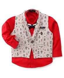 Robo Fry Full Sleeves Shirt With Waistcoat - Red Off White