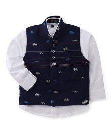 Robo Fry Full Sleeves Shirt With Waistcoat - Blue White