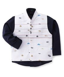 Robo Fry Full Sleeves Shirt With Waistcoat - White Blue