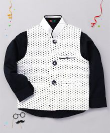 Robo  Fry Party Wear Full Sleeves Shirt And Dotted Jacket - White Navy Blue
