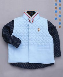 Robo Fry Sleeveless Party Wear Jacket With Printed Shirt - Blue Navy