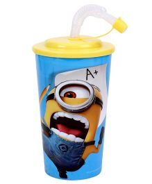 Minions Blue Sipper With Straw Blue - 450 ml