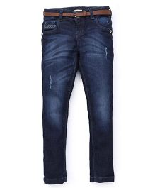Gini & Jony Full Length DX Wash Jeans With Belt - Blue