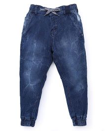 Palm Tree Dark Wash Jogger Jeans - Dark Blue