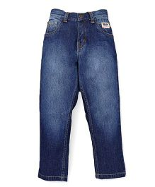 Palm Tree Dark Wash Jeans - Dark Blue