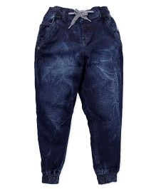 Palm Tree Full Length Jogger Jeans - Dark Blue