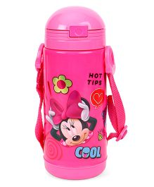 Disney Sipper Water Bottle With Strap Minnie Mouse Print - Pink