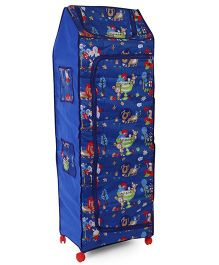 Kids Zone Big Jinny Folding Multipurpose Almirah Lion And Rabbit Print - Blue