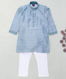 Enfance Embroidery Solid Kurta & Churidar - Blue & White