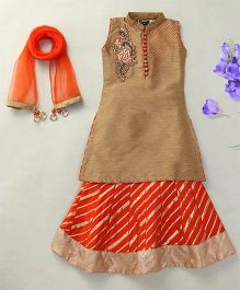 Enfance A-Line Kurta Lehenga Set With Dupatta - Orange & Gold