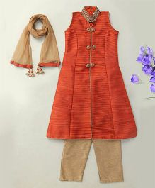 Enfance Pretty Ethnic Kurta Pant & Dupatta - Orange & Gold