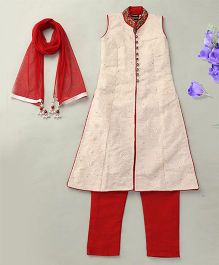 Enfance Graceful Kurta Pant Set With Dupatta - Red & Cream