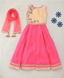 Enfance Classy Ghaghra Choli Dupatta Set - Rani Pink & Cream