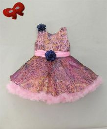 Eiora Party Wear Dress With Flower At Waist - Multicolour