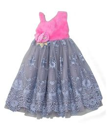 Eiora Floral Embroidered Gown With Flower Motif - Pink & Grey