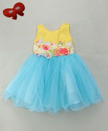 Eiora Floral Detailing Frill Dress - Yellow & Blue