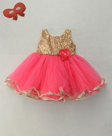 Eiora Party Wear Dress With Flower At Waist - Golden & Pink