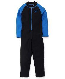 Speedo Full Sleeves Legged Swimsuit Black & Blue