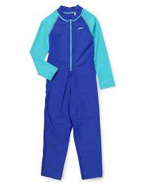 Speedo Full Sleeves Legged Swimsuit - Royal Blue Green