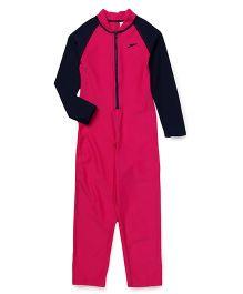 Speedo Full Sleeves Legged Swimsuit - Pink & Navy
