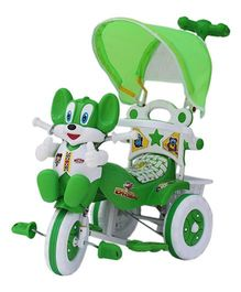 Amardeep Baby Tricycle With Push Handle - Green White