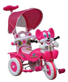 Amardeep Baby Tricycle With Push Handle - Pink White