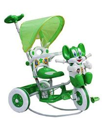 Amardeep Baby Rocking Tricycle With Push Handle - Green & White