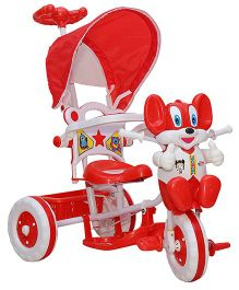 Amardeep Baby Rocking Tricycle With Push Handle - Red & White
