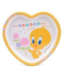 Tweety Heart Shaped Plate - White Yellow
