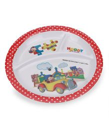 Noddy 3 Section Round Plate - Red White