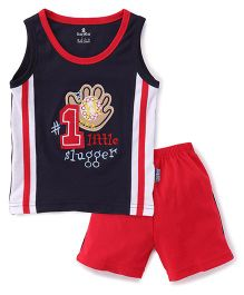 Child World Sleeveless Sets With Number 1 Patch - Navy