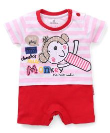 Child World Half Sleeves Romper Monkey Print - Red Pink