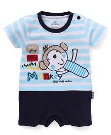 Child World Half Sleeves Romper Monkey Print - Navy Blue