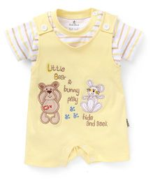 Child World Half Sleeves Dungaree Style Romper Bunny and Teddy Patch - Yellow