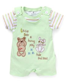 Child World Half Sleeves Dungaree Style Romper Bunny and Teddy Patch - Green
