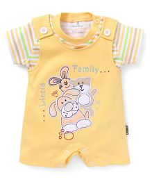 Child World Half Sleeves Dungaree Style Romper Little Family Patch - Yellow