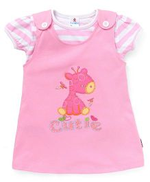 Child World Dungaree Style Frock With Top Giraffe Patch - Pink